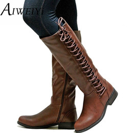 $enCountryForm.capitalKeyWord Canada - AIWEIYi Women's Fashion Boots Knee High Slim Boots Solid Color Riding Women Elegant Side Zip Comfortable Botas Shoes