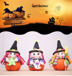 Decoration For Party Tables NZ - Halloween Witch Doll with Pumpkin Stand for Halloween Home Party Window Ornament Halloween Centerpieces Table Decoration Supplies
