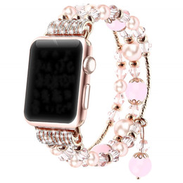 faux pearl bracelet crystals 2019 - Handmade Elastic Stretch Faux Pearl Bracelet crystal band Replacement for apple watch series 4 3 2 1 38mm 40mm