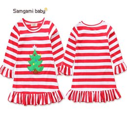 LoLita fLared dress online shopping - Christmas dresses for girl Flare sleeve Children clothing Striped Dress Long sleeve A line Autumn Free DHL