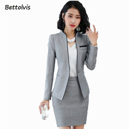 женская рабочая одежда оптовых-2018 Autumn Work wear women s clothes slim long sleeve blazer pants office ladies formal XL plus size pants suit XL jacket set