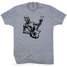 Amp Electric Guitars UK - Robot Guitar T Shirt Bass Amp Shirts Robot Playing Electric Rock Band 80s Tee Vintage Guitarist Logo Graphic O Neck Tshirt