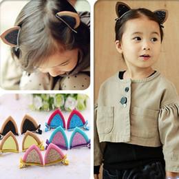 Baby Sequin Hair Clips Wholesale Australia - 1pcs cute fashion Kids Baby Grils Children Sequins Cat Ear barrettes Hair Clips Hairpins headwear