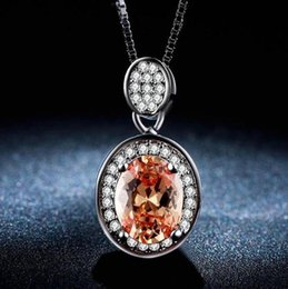 middle dresses 2020 - ZHF Jewelry red stone necklace shiny jewelry pendant necklace women cz diamond white 585 gold plated wedding accessories