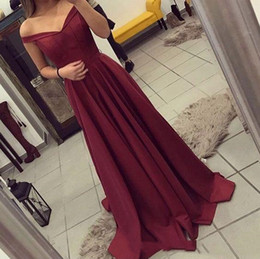 New fashioN dress teeN online shopping - 2018 New Arrival Elegant Burgundy Evening Dresses Hot A Line Teens Off the Shoulders Prom Dresses Party Wear Gowns Long