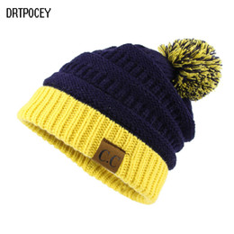 55835f4cea5 CC Fashion Women Pom Pom Hat Winter Hats For Women Girl Hat Knitted Beanies  Cap Solid Color Hip-Hop Skullies Beanie Warm Caps