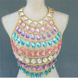 6d343ffb21c Women Colorful Acrylic Crystal Festival Tank Tops Beach Sparkly Crazy Gem  Sequins O Neck Nightclub Party Camis Crop Top Dropship