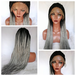 Glueless Wig Braids For Australia - Cheap High Density Ombre Wig Gray Braids Synthetic Lace Front Wigs Full Hand Braided Wigs Heat Resistant Glueless Lace Wigs for Black Women