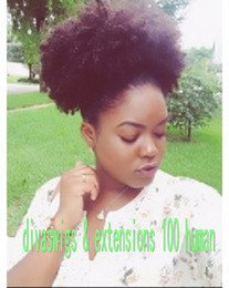 Afro Kinky Hair Shipping Australia - 120g afro ponytail extension human hair ponytails afro kinky curly clip in virgin brazilian hair drawtring ponytail fast shipping