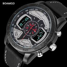 $enCountryForm.capitalKeyWord Australia - Men Sports Watches BOAMIGO Brand Men LED Watches Genuine Leather Quartz Wristwatches 30M Waterproof Gift Box Clock Reloj Hombre