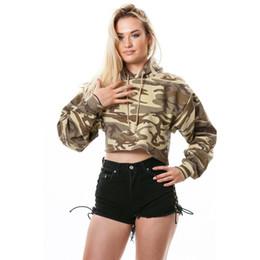 a7396ca9a7 Women Camo Hoodies Canada - 2018072532 Drop Shoulder Crop Camo Hoodie  Pullovers 2018 New Multicolor Drawstring