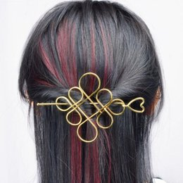 Wholesale 2018 Classical Style Hollow metal Chinese knot half lifting hairpin hair pins jewelry for women or girls