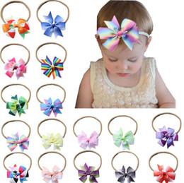 Headbands Bow Australia - 16 Colors Baby Hair Headbands Bows 8cm Ribbon Bow Headbands for Girls Children Hair Accessories Kids Princess Elastic Headdress
