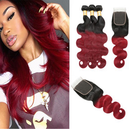 $enCountryForm.capitalKeyWord Australia - Brazilian body wave ombre 1B burgundy human hairs 3 bundles+ lace closures hairs wmen's real human hair weaves virgin remy