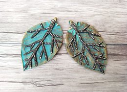 $enCountryForm.capitalKeyWord Australia - 5 Pcs Metal brass Leaf shape Charm Pendant Paved Crystal Rhinestone,DIY Jewelry Necklace Finding PD779