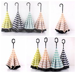 Discount handle c - Striped Reverse folding umbrella Sunshade Rain Umbrella C-hook Handle J-hook Handle Double reverse folding umbrella KKA3