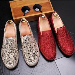 Silver Falls Australia - New Style Men loafers Silver Black Diamond Rhinestones Spiked Loafers fashion style Rivets shoes Wedding Party Shoes G119