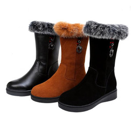knight hair Canada - Plus size2018 New Rabbit Hair Matte Cowhide Leather Boots Flat Non-slip In-tube Boots Warm Comfort Cotton Shoes Woman Shoes Snow Boots