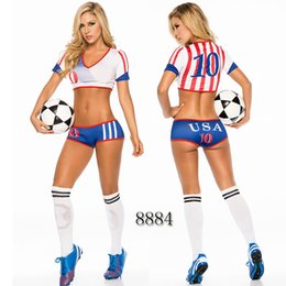 Women Costume Cheerleader UK - Sexy Lingerie Uniform Soccer Player Cheerleader World Cup Football Girl party dress Fancy Dress Costume SM8884