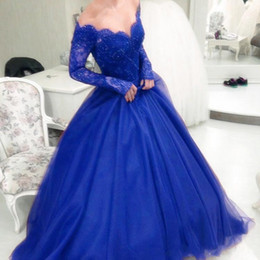 7577c624f Mexican Blue Quinceanera Dresses Ball Gown Long Sleeve Lace Bodice Sweet 16  Dresses Floor Length Party vestidos de 15 anos
