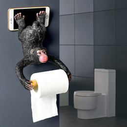 wall mount phone holder 2020 - Monkey Toilet Tissue Holder European Bathroom Paper Holder Waterproof Bedroom Wall Mounted Roller Paper Holder with Phon