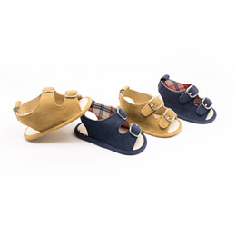 Boy Sandals Canada - 2018 new Summer kids shoes Canvas sandals toddler shoes Embroidery baby shoes for 0-1years old boys