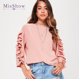 $enCountryForm.capitalKeyWord NZ - MisShow Three Quarter Sleeve Pink Blouse Shirt Women Tops Casual 2017 Summer Ruffle Shirt White Blouse Chemise Femme Blusas 2017