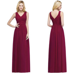 5af254456 2018 In Stock V Neck Burgundy Bridesmaid Dresses Sleeveless Ruffle Chiffon Wedding  Party Wear With Zipper Back Maid of Honor Gowns CPS870