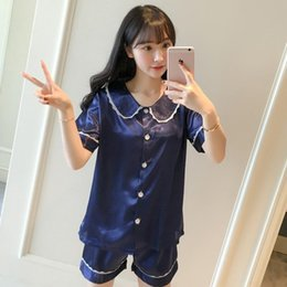 d6477139eb Lady Silky Satin 2PCS Shirt Shorts Home Clothes Summer New Short Pajamas  Set Short Sleeve Sweet Nightwear Lingerie Suit M-XL