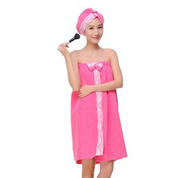 782110e528 Sexy Women Microfiber Bath Towel + Caps Bath Robe Bathrobe Body Spa Bow  Wrap Towel Super Absorbent Gown