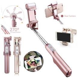 HandHeld bluetootH selfie stick monopod online shopping - Mini Selfie Stick Monopod Rear Mirror and LED Flash Fill Light Handheld Extendable and Foldable Wireless Bluetooth Flashing