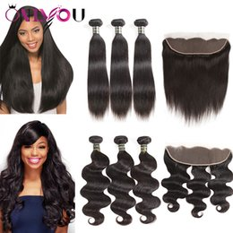 Cheap virgin remy hair bundles online shopping - Cheap Brazilian Virgin Hair Bundles with Lace Frontal Straight Body Wave Human Hair Extensions Top Remy Hair Wefts with Closure