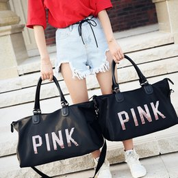 Thermal cloThing black online shopping - Pink Bag High Capacity Travel Bag Black Beach Exercise Luggage Handbag Women men pink Letter Gym Tote Bag Outdoor Storage Bags HHA1