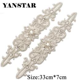 $enCountryForm.capitalKeyWord Australia - YANSTAR(1PCS) Bridal Sash Rhinestone Applique Sparkle Crystal Silver For Wedding Dresses Belt Iron On YS940