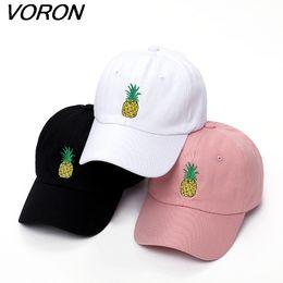 Wholesale pink woman polo online – design VORON men women Pineapple Dad Hat Baseball Cap Polo Style Unconstructed Fashion Unisex Dad cap hats