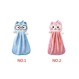 Wholesale car Wash drying toWels online shopping - Baby Hanging Hand Towel Cartoon Handkerchief Kitchen Newborn Washcloths Bathroom Cat Car Cleaning Cloth Dish Wash Towel