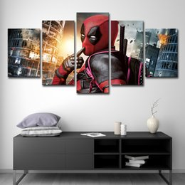 Discount marvel canvas prints - 5 Pieces Movie Poster Marvel Deadpool Modern Home Wall Decor Canvas Picture Art HD Print Painting On Canvas For Living R