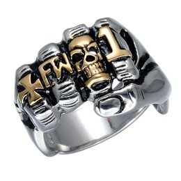 Discount steel fists Cool Fist Finger Biker Ring Punk Gothic Gold Silver Stainless Steel Ring Viking Retro Grim Skull Fingers Gothic Ring For