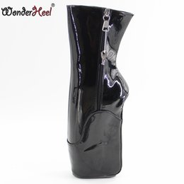 "Chinese  Wonderheel new short ballet boots 7"" wedge heel with lockable zip patent black fashion sexy fetish locked ballet ankle boots manufacturers"