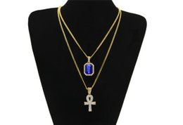 bling rhinestone necklace set UK - 50pcs Egyptian Ankh Key of Life Bling Rhinestone Cross Pendant With Red Ruby Pendant Necklace Set Men Fashion Hip Hop Jewelry R100