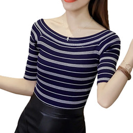 striped shirts for women 2019 - Lace Girl Half Sleeve Slim Tops For Women Slash Neck Casual Knitted Blouses Stripped Fitness Shirts Tops Ladies Spring S