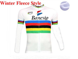 Wholesale only men s clothing online – design WINTER FLEECE THERMAL ONLY CYCLING JACKETS CLOTHING LONG JERSEY ROPA CICLISMO BANESTO UCI CLASSIC SIZE XS XL