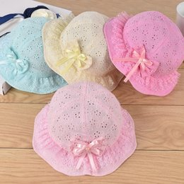Baby Girl Broderie Anglaise Bow Lace Sun Cap Summer Hollow Bucket Hat 5-18months en venta