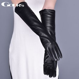 28e902a3865a Discount women s long gloves leather - Gours Genuine Leather Gloves for Women  Winter Warm Black