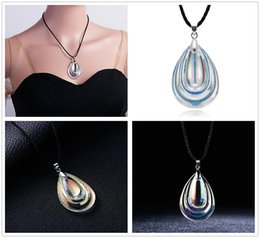 $enCountryForm.capitalKeyWord Australia - Fashion Women Colorful Water Drop Shape Artificial Crystal Pendant Necklace Jewelry Home Party Lovely Gifts Free Shipping