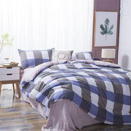 $enCountryForm.capitalKeyWord Canada - 4pcs set 100 % cotton bedding sets lattice chic style washable home textile queen size bed sheet quilt cover pillow case