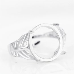 $enCountryForm.capitalKeyWord NZ - 925 Sterling Silver Engagement Wedding Ring for Women 12x13mm Oval Cabochon Semi Mount Ring Setting DIY Stone White Gold Color