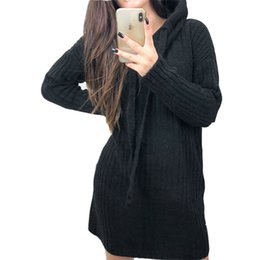 Female Dresses NZ - Hooded Knitted Slim Dresses 2018 Fashion Women Autumn Knitting Mini Dress Winter New Sexy Solid Female Casual Bodycon Robe M0167