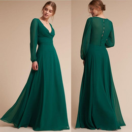 acfdf33e7e1bc Simple Style Dark Green Sexy Prom Dresses 2019 Vintage V Neck Chiffon Floor  Length Button Back Long Evening Gowns Cheap BC0051