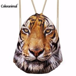 Kid S School Bag NZ - Coloranimal New Design Tiger Print String Backpack  Men Homme Travel 6d698be9481f4